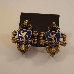 Jewelry - Vintage Earrings Screw back Gold Blue Lion